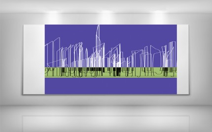 © series > LD ART gallery - Purple + Lime Abstract SKYLINE 2